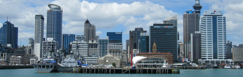 Skyline of Auckland of the harbor